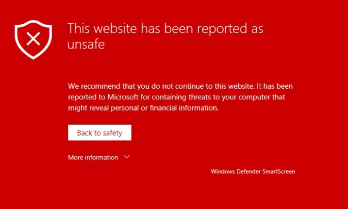 "Google warning message: ""The website has been reported unsafe"""