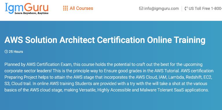 AWS course by IgmGuru
