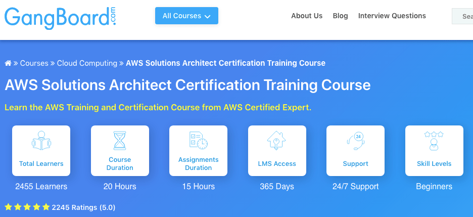 AWS course by Gang Board